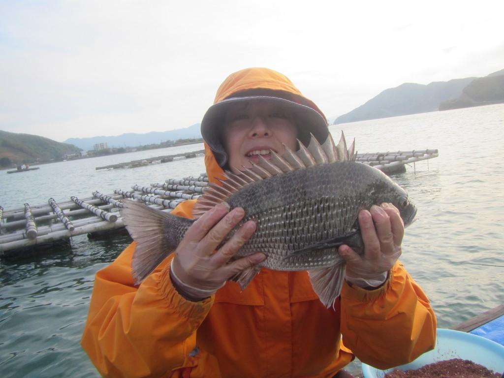 ずっしりと重い。これが野村渡船さんのチヌだ!