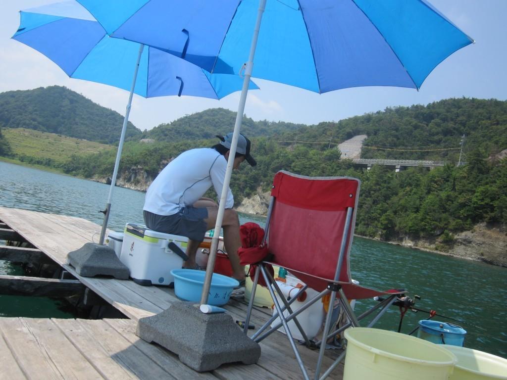 太郎さんの原点・金丸渡船さん。パラソル無料で快適。