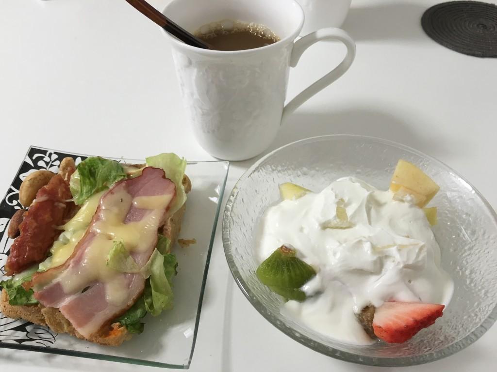 朝食。右が噂のヨーグルト。ちなみにパンもホームベーカリー製。